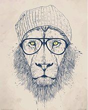 Cool Lion' Drawing Print East Urban Home