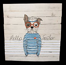 Cool Sailor Dog Graphic Art Print on Wood Happy