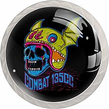 Cool Skull 4 Pack Glass Drawer Knobs- Round Shape