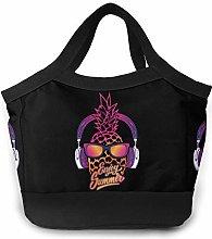 Cool Summer Pineapple Women Portable Lunch Bag