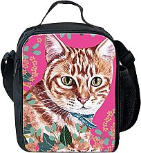 Cool Tabby Cat Girls Childs Lunch Box Bag Reusable