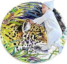 Cool tiger, Kids Round Rug Polyester Throw Area