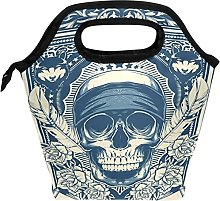 Cool Wolf Skull Lunch Bag Insulated Freezable