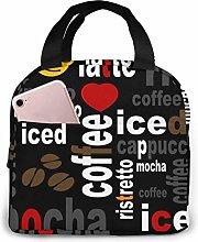 Cooler Bag, Coffee Text Portable Lunch Handbag
