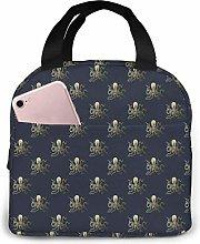 Cooler Bag, Gold Octopus Portable Lunch Handbag