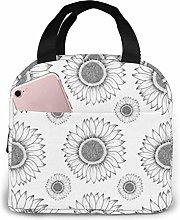 Cooler Bag, Gray Sunflower Portable Lunch Handbag
