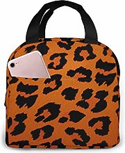 Cooler Bag, Orange Leopard Portable Lunch Handbag