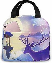 Cooler Bag, Purple Girl Elk Moon Portable Lunch