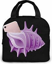 Cooler Bag, Purple Shell Portable Lunch Handbag