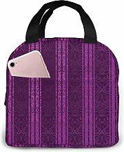 Cooler Bag, Purple Stripes Portable Lunch Handbag