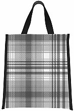 Cooler Grocery Bag Gray Black White Pixel Check