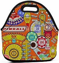 Cooler Tote Box,Cartoon Pinball Orange Lunch Tote