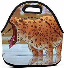 Cooler Tote Box,Funny Leopard Hippo Animal Lunch