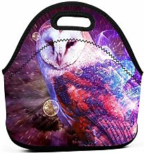 Cooler Tote Box,Galaxy Owl Lunch Bags Insulated