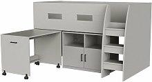 Cooper Cabin Bunk Bed Set with Storage & Desk, Grey