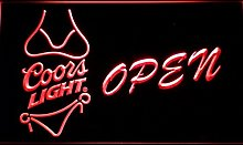 Coors Light Bikini Beer OPEN Bar LED Neon Sign Man