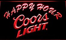 Coors Light Happy Hour Beer Bar LED Neon Light