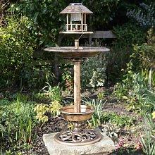 Copper Effect Solar Light Bird Bath Feeding