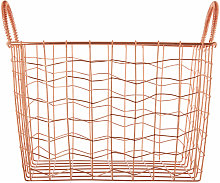 Copper Finishing Rectangular Wire Basket With