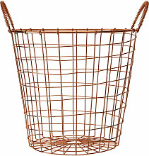 Copper Finishing Round Wire Basket With Handles