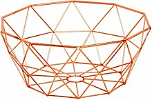 Copper Fruit Basket Geometric Bowl Kitchen Dining