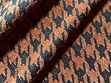 Copper Houndstooth Chenille Fabric Jacquard