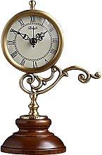 Copper Mantle Clock Retro Wooden Base Desktop