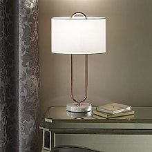 Copper Table Lamp with Modern Marble White Base