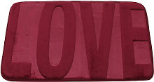 Coral fleece memory rug 40x60 cm Red bathroom and