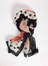 Coral Pink Spot Pleated Scarf - One Size
