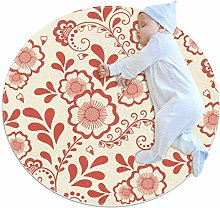 Coral Red Floral Pattern Round Area Rug, 2.3ft