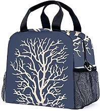 Coral Tree in Cream on Dark Navy Blue Reusable