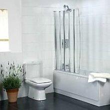 Coram Bathroom 5 Panel Over Bath Folding Shower