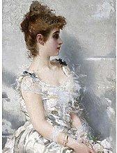 Corcos Portrait Woman White Dress Flowers Painting