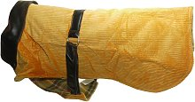 Corduroy And Leather Dog Coat (14in) (Orange) -