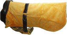 Corduroy And Leather Dog Coat (16in) (Orange) -