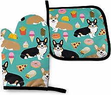 Corgis Dog and Fast Foods Oven Mitt Cooking Gloves