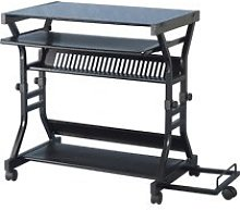 Cori Black Glass Computer Desk - Office Furniture