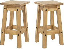 Corina Wooden Kitchen Stools In Antique Wax In A