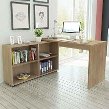 Corner Desk 4 Shelves Oak - Hommoo