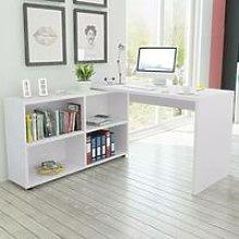 Corner Desk 4 Shelves White - Hommoo