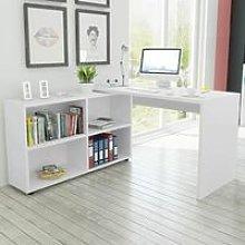 Corner Desk 4 Shelves White QAH09626 - Hommoo