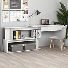Corner Desk High Gloss White 200x50x76 cm Chipboard
