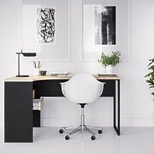 Corner Desk in Black & Oak with 2 Drawers -