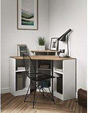 Corner Desk Mercury Row Colour: Natural Oak/White,