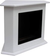 Corner ecological fireplace with worked white wood