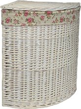 Corner Garden Rose Lining Wicker Laundry Bin