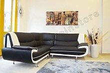 Corner Passero Black and White Faux Leather Sofa
