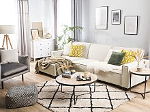 Corner Sofa Bed Beige Fabric Upholstered 3 Seater