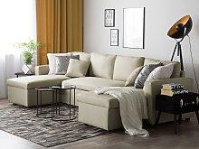 Corner Sofa Bed Beige Fabric Upholstered U Shaped